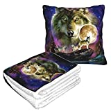 FUNINDIY Indian Art Wolves Native American Indians Travel Throw Blanket and Pillow - Premium Warm Soft 2 in 1 Large Compact Blanket Flannel Fleece Combo Blanket for Home Office or Trips