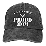 DRXX Orgullosa mamá de un Aviador de la Fuerza Aérea Militar Unisex Gorra de Casquette Suave Sombrero de Moda Gorras de Béisbol Ajustables Vintage Moda Negro