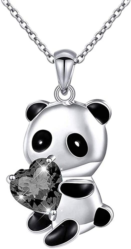 Panda Bear Necklace Heart Round Shape Zircon Necklace for Women Child Gift Charm Chain Necklace Chokers Collar