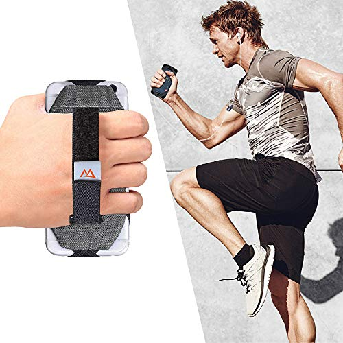 Universal Phone Holder Hand Grip Security Hand Strap Holder for iPhone X/XS/8/7/7S/6/6S/SE/5, Samsung Galaxy S10/S9/S8/S7/S6/S5, Fitness Hand Wrap Held Case for Running Jogging Workout Exercise, Gray