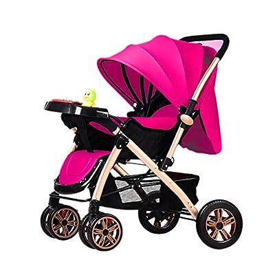 LIU UK Baby Stroller Cochecito de bebé Carrito de bebé Plegable Ligero 0/1-3 años Carrito de niño portátil Simple Música con Plato de la Cena (Color : Rosado)