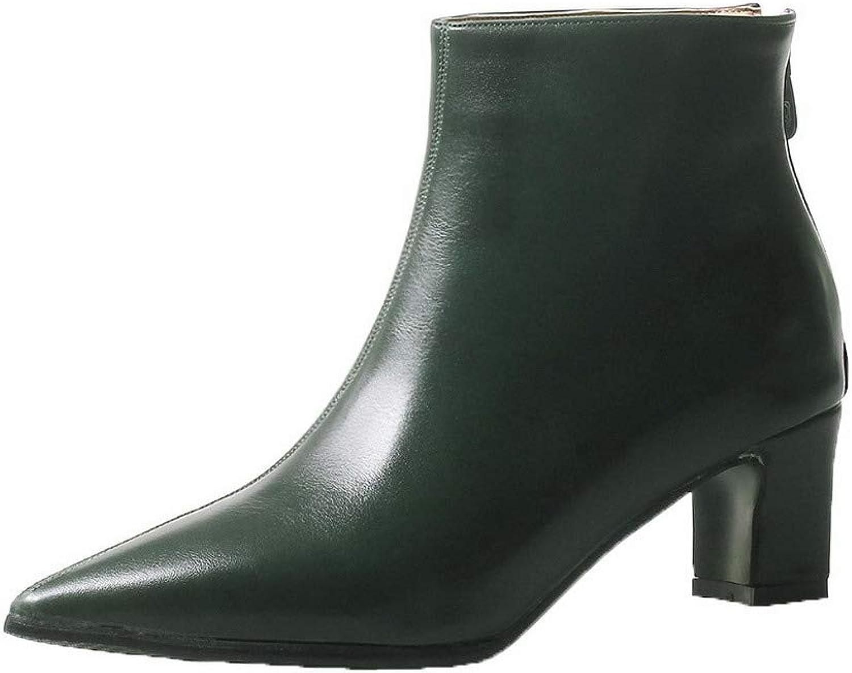AllhqFashion Women's Closed-Toe Kitten-Heels Pu Low-Top Solid Boots, FBUXD120636