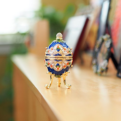 Apropos Hand- Painted Classic Vintage Style Faberge Egg with Rich Enamel and Sparkling Rhinestones Jewelry Trinket Box (Royal Blue)
