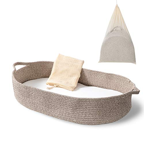 Baby Changing Basket - Moses Basket Changing Table Topper and Thick Foam Pad with Removable Cotton Mattress Cover, 100% Cotton Boho Nursery Decor in Coffee Color with Storage Bag