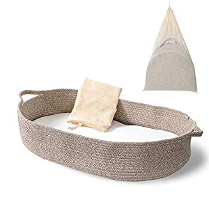 Baby Changing Basket – Moses Basket Changing Table Topper and Thick Foam Pad with Removable Cotton Mattress Cover, 100% Cotton Boho Nursery Decor in Coffee Color with Storage Bag