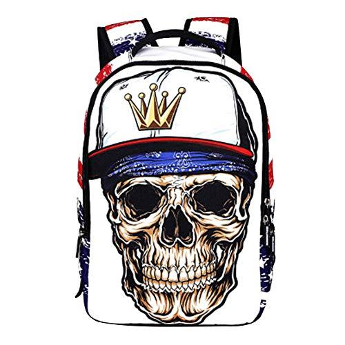 Zaino Teschio Donna Uomo Stampa 3d Cranio Zainetto Particolari Casual Hip Hop Backpack Daypack Rucksack Swag Zaini Steampunk per Laptop Zainetti Borsa da Scuola Viaggio Mare Sport Trekking School Bag