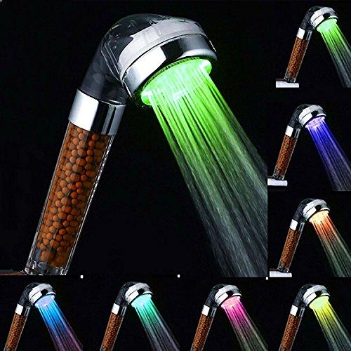 LED Duschkopf, Winnes Hochdruck Duschkopf 7 Farben Wellness Dusche Hand Spray Bunte Farbe ändernden Regenbogen Negative Ionen Doppelfilter entfernt Schwermetalle, Chlor, Bakterien und Verunreinigungen