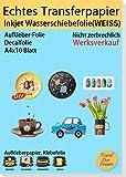 TransOurDream ECHTE Inkjet Wasserschiebefolie(Weiss) für Tintenstrahldrucker,A4X10Blatt,für Nagelkunst,Tassen,Keramik, Glas, Kerzen, Metall, Nassschiebefolie (7-10)