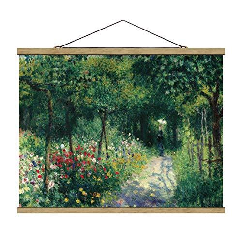 Stoffbild mit Posterleisten - Auguste Renoir - Frauen im Garten - 26x35cm Eiche