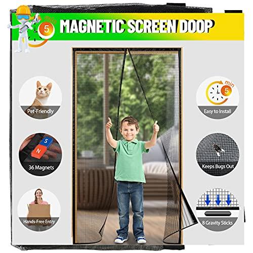 """LABIGO Magnetic Screen Door,36x83 inch Fiberglass Screen Doors with 36 Magnets Fits Door Size up to 34""""x 82"""", Heavy-Duty Mesh Curtain with Full Frame Hook & Loop for Sliding French Door, Hands Free"""