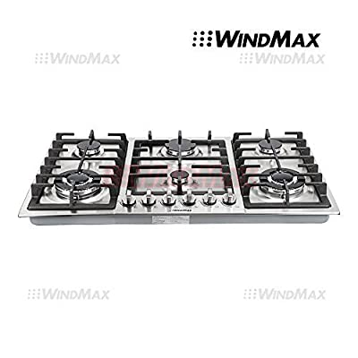 "Ships From CA, USA WindMax® 34"" Stainless Steel 6 Burner Built In Stoves NG LPG Gas Cooktops Cooker"