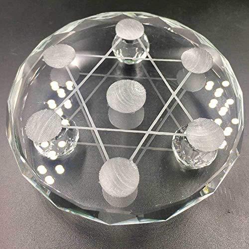Adivinación con bola de cristal 8 cm vidrio siete estrellas matriz nueva placa de 7 estrellas asiáticas cristal de cuarzo curación bola esfera stand del hogar decoración adornos regalos Bola de crista