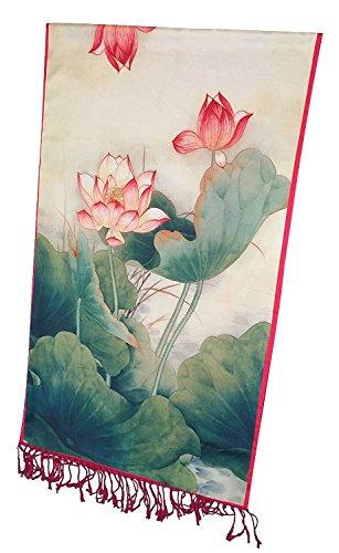 Siskalicious SiScarf Women's Luxurious Fashions Double Layers Silk and Soft Cashmere Scarf Green Lotus Fuchsia