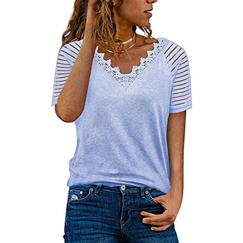 Primavera Y Verano, Jersey Informal para Mujer, Cuello En V Suelto, Color SóLido, Encaje, Camiseta De Manga Corta, Top para Mujer