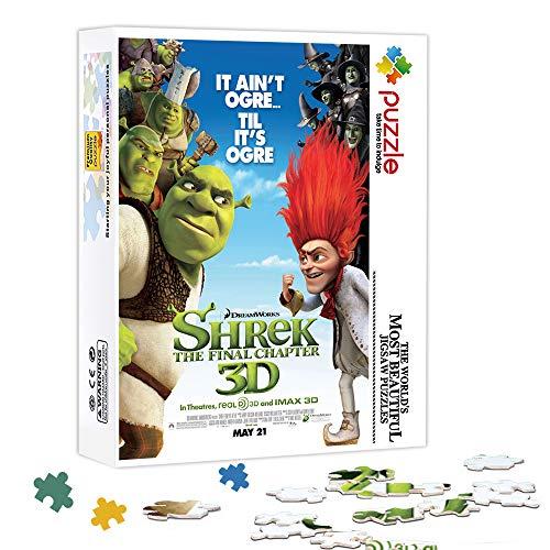 LLLTONG Color Puzzle 500 Piezas Shrek 2: Burro: Shrek Puzzle de Madera Rompecabezas desafiantes y educativos Juegos Juguetes 52x38cm
