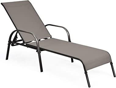 Tangkula Patio Chaise Lounge, Recliner Outdoor Lounger Chair w/Adjustable Backrest, Reclining Chair w/Heavy Duty Steel Frame,