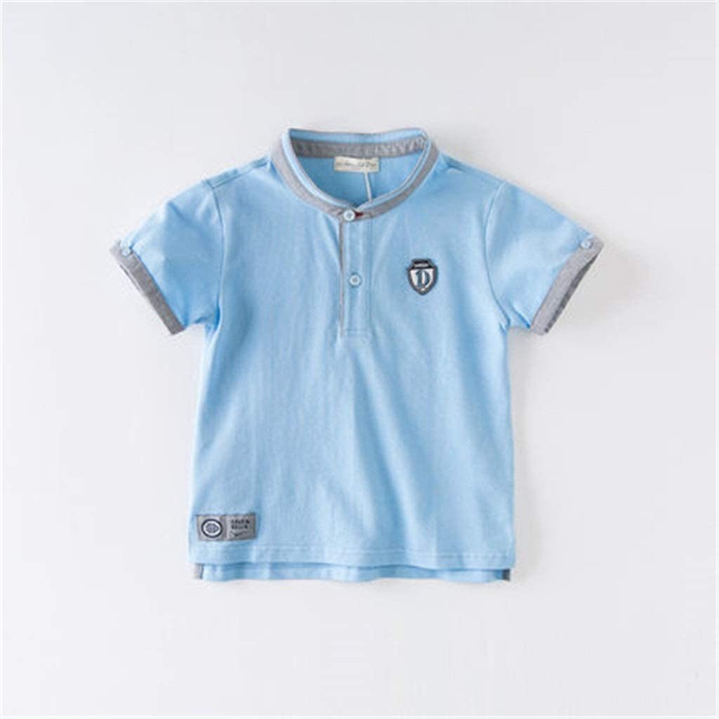 TONG Boys' Short-Sleeved Middle and Large Kid's Polo Shirt Short-Sleeved Top Soft Cotton Fabric Soft (Color : Blue, Size : 110cm)