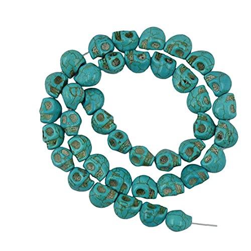 Turquesa Gemstone Turquoise Skull Perlas sueltas Perlas de ágata redonda para joyería que hace bricolaje