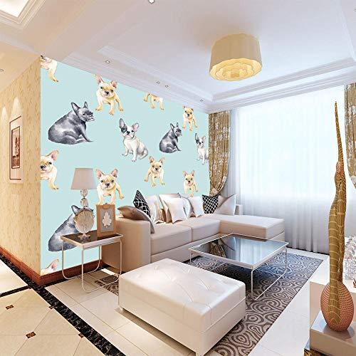 Behang voor de muur, hond, stripmotief, 3D-wandbehang, vliesbehang, muurschildering, moderne decoratie, voor slaapkamer, woonkamer, badkamer, Venda, zwart 300cmx210cm