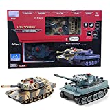 ANJING Tanques de Combate RC, Juego de 2 Tanques de Batalla de Control Remoto por Radio infrarrojo