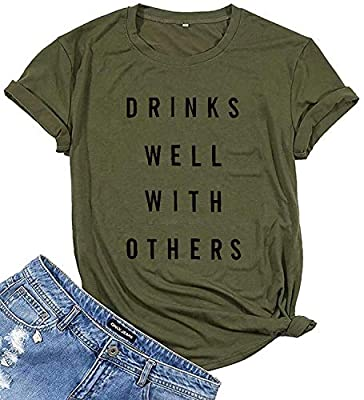 Drinks Well with Others T-Shirt Women Funny Drinking Alcohol Short Sleeve Tee Shirt Tops with Saying