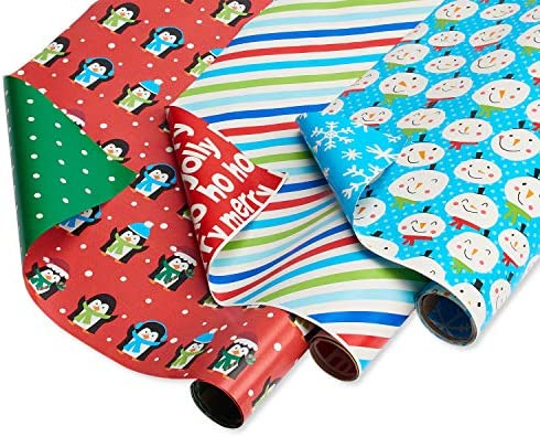 American Greetings Reversible Christmas Wrapping Paper Stripes Blue Snowmen and Red Penguins product image