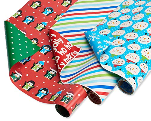 American Greetings Reversible Christmas Wrapping Paper Stripes, Blue Snowmen and Red Penguins (3 Pack, 120 sq. ft.), 3-Roll
