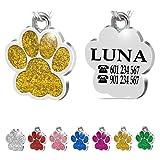 Iberiagifts - Placa Chapa de identificación Personalizada para Collar Perro Gato Mascota grabada (Dorada)