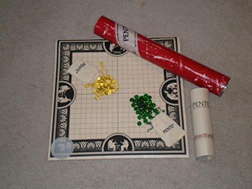 Vintage PENTE STRATEGY GAME early edition in red tube, green and yellow stones, rolled board mat, and Instruction Booklet is Fourth Edition copyright 1977, 1979, 1981 (contains Terminology, Rules, Strategies and Advanced Variations).
