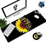 Desk Pad Mat Large Mouse Pad XL Extended Mousepad Gaming with Sunflower Black 31.5