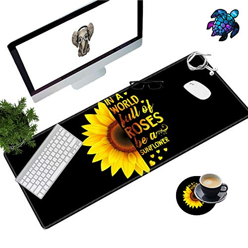 Desk Pad Mat Large Mouse Pad XL Extended Mousepad Gaming with Sunflower Black 31.5' 11.8' Huge Mouse Pads for Computer Laptop Home Office + Cup Coaster and Cute Stickers