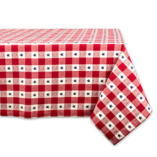 DII Rectangular Cotton Tablecloth for Independence Day, July 4th Party, Summer BBQ and Outdoor Picnics - 60x104, Red White and Blue Star Check