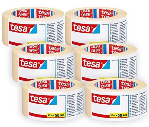tesa 05288 Malerband UNIVERSAL im 6er Pack - Vielseitiges Klebeband für Malerarbeiten ohne Lösungsmittel - rückstandslos entfernbar - Breit - 6 Rollen je 50 m, Beige