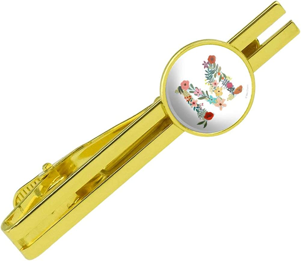 GRAPHICS & MORE Letter M Floral Monogram Initial Round Tie Bar Clip Clasp Tack Gold Color Plated