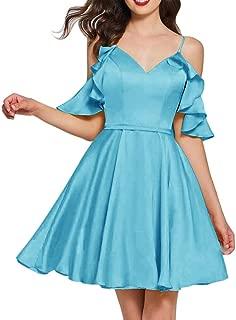 Jonlyc Cold Shoulder A Line V Neck Ruffles Short Homecoming Dresses for Juniors 2019