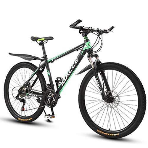 GL SUIT Fahrrad Mountainbike für Erwachsene Unisex, 24-Gang-Doppelscheibenbremsen leichte Carbon Stahlrahmen stoßdämpfender Federgabel Hard Tail Dirt Bike,Grün,26 inches