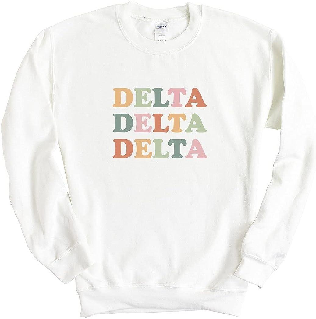 Delta Delta Delta Tri Delta Bright and Colorful Sorority Crewneck Sweatshirt