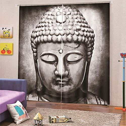 BSZHCT Cortinas Impresas 3D Foto Tela De Poliéster - Estatua de Buda Retro 150X166CM Reducción De Ruido con Aislante Térmico Opaco para Dormitorio Salón Ventana Decorativa