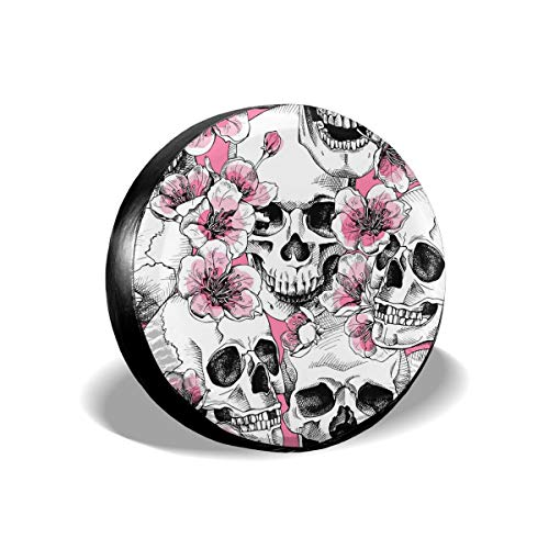 Foruidea Sugar Skull Skeleton Flower Pink Spare Tire Cover Waterproof Dust-Proof UV Sun Wheel Tire Cover Fit for Jeep,Trailer, RV, SUV and Many Vehicle 17 Inch