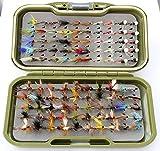 ARC Fishing Flies gs-vs Fly Box 100Forelle Fliegen Fly Haken 12Trockenfliegen, Nassfliegen, Signalempfänger & Straps Signalempfänger