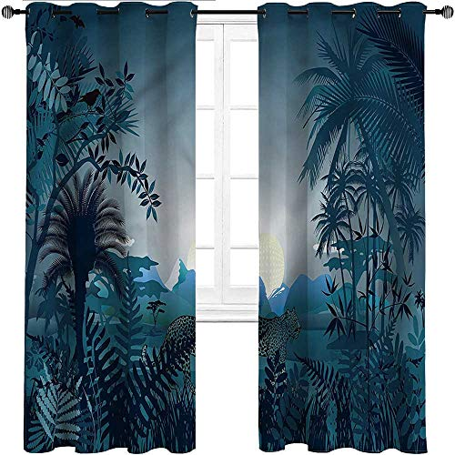 Cortinas opacas UNOSEKS LANZON Jungle, pantera de Sri Lanka en arbustos anchos, ideales para bloquear la luz y el ruido