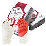ZERED 300 Pairs Red Latex Rubber Palm Coated Safety Work Gloves 300 pairs/whole box