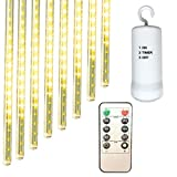 [Remote and Dimmable] Battery Operated LED Meteor Shower Rain Lights with Timer, 11.8 inch 8 Tubes 144 LEDs Connectable Snowfall String Lights for Garden Wedding Xmas Tree Outdoor Decor (Warm White)