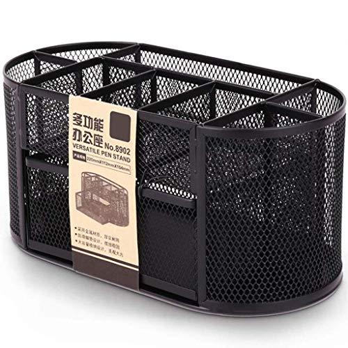 Storagebox kantoororganisatiesysteem, draaibaar, zwart, penhouder van hoogwaardig metaal, elegante organizer voor kantoor, pennenhouder, kantoor-organizer in modern en rond design