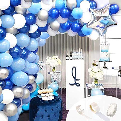 GRESAHOM Juego de globos de arco de guirnalda, 104 globos de látex azul blanco y plateado con estrella de bola para boda, cumpleaños, despedida de soltera, baby shower, aniversario