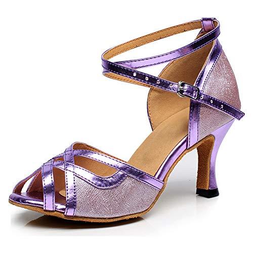 VCIXXVCE Zapatos de Baile Latino con Correa Cruzada para Mujer Zapatos de...
