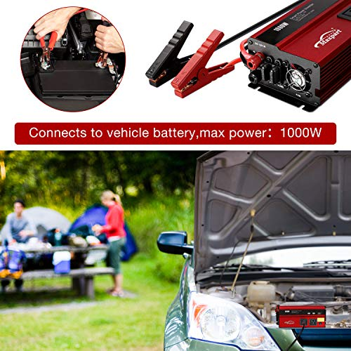 Maxpart 1000W Power Inverter Truck/RV Inverter 12V DC to 110V AC Converter with Dual AC Outlets 2.4A USB and Dual 12V Car Cigarette Lighter Modified Wave Inverter