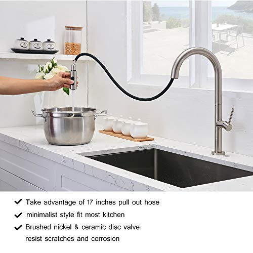 VESLA HOME Single Handle One Hole Oil Rubbed Bronze Finish Large Spout Waterfall Vanity Bathroom Faucet, Lavatory Bathroom Sink Faucet