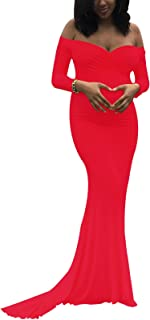 Maternity Elegant Fitted Maternity Gown Long Sleeve Slim Fit Maxi Photography Dress