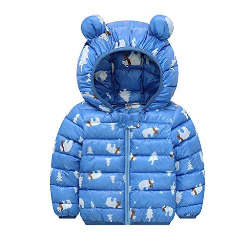 Sannysis Baby Winter Jacke für 1-4 Alter Jungen Mädchen Mäntel mit Kapuze Herbst Warme Steppjacke Kinder Winterjacke Daunenmantel Verdickte Hoodie Leichte Daunenjacke (120, Blau)